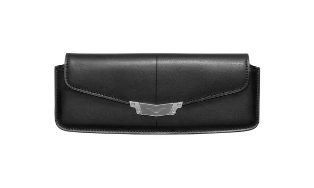 BLACK LEATHER HORIZONTAL CASE WITH STAINLESS STEEL