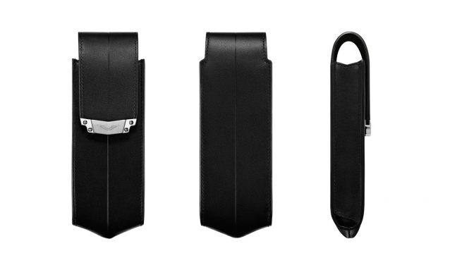 BLACK LEATHER VERTICAL CASE WITH STAINLESS STEEL