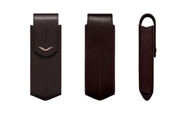 BROWN LEATHER VERTICAL CASE WITH RED GOLD