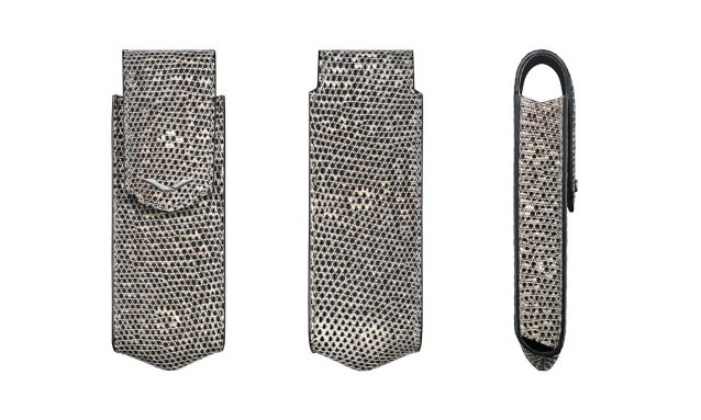 NATURAL LIZARD VERTICAL CASE WITH STAINLESS STEEL