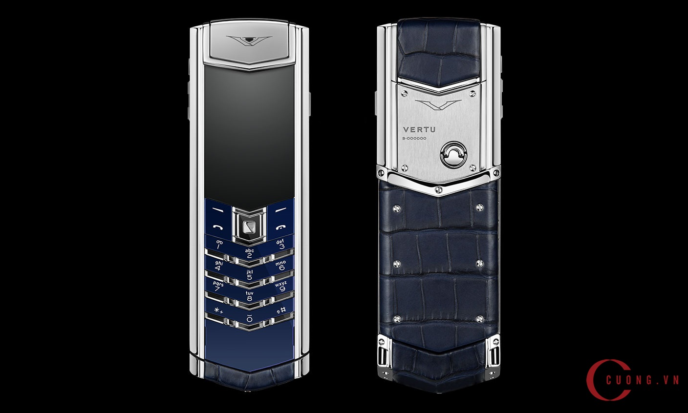 Vertu Signature S Navy Alligator mới 01