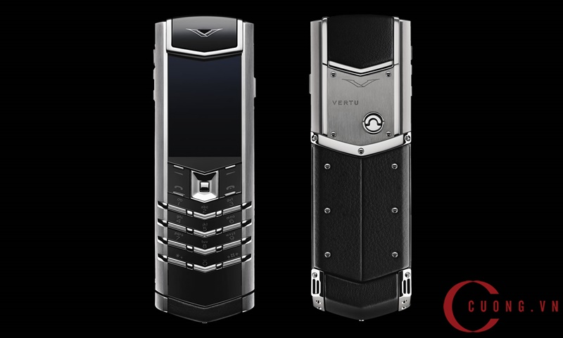 vertu signature s stainless steel black leather mới 01
